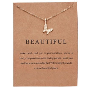 Gold Color Butterfly pendant necklace Beautiful